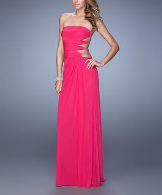 La Femme Women's Special Occasion Dresses Hot - Hot Pink Cutout Bead-Strap Jersey Gown - Women