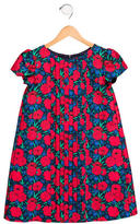 Oscar de la Renta Girls' Rose Print Tiered-Paneled Dress