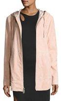Public School Rin Hooded Suede Jacket, Pink
