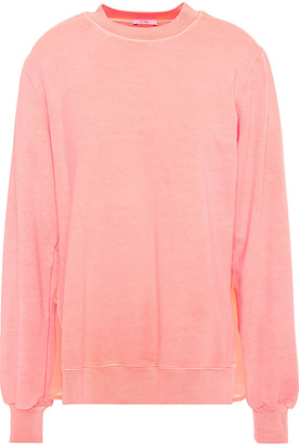 Clu Voile-paneled Ruffled French Terry Sweatshirt