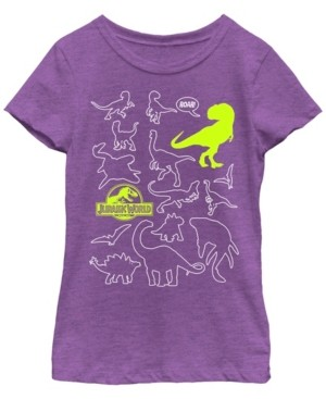 Fifth Sun Jurassic World Two Big Girl's Dino Doodle Neon Pop Short Sleeve T-Shirt