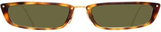 Linda Farrow Wide Rectangle Frame Sunglasses