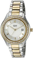 Burgi Women's BUR135TTG Swarovski Crystal Accented Embossed Dial Silver and Yellow Gold Bracelet Watch