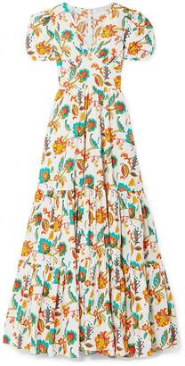 Caroline Constas Tiered Floral-print Cotton-voile Maxi Dress