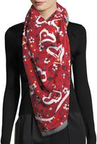 Marc Jacobs Heart and Flower-Print Scarf w/ Fringe