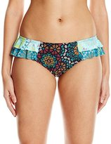 Coco Rave Women's Sparkly Medallion Bridgette Side Ruffle Bikini Bottom