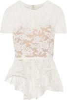 Reem Acra - Cotton-blend Corded Lace Peplum Top - Ivory