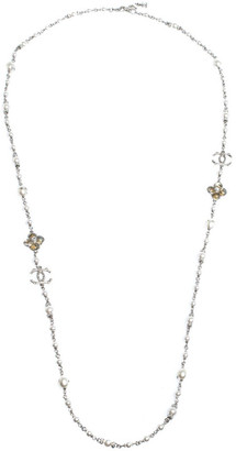 Chanel CC Crystal Enamel Faux Pearl Bead Silver Tone Long Station Necklace