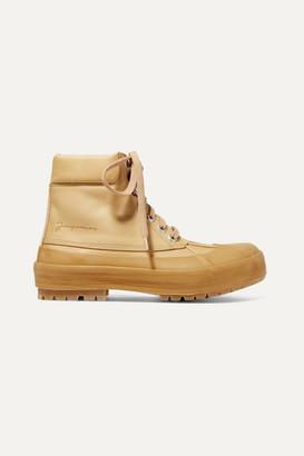 Jacquemus Les Meuniers Hautes Rubber-trimmed Leather Ankle Boots - Beige