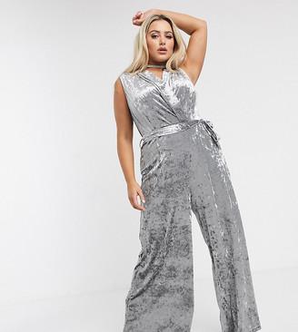 Unique21 Hero Unique 21 shimmer velvet jumpsuit in silver