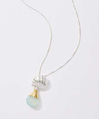 Michou Women's Necklaces - Peruvian Calcite & Two-Tone Shell Teardrop Pendant Necklace