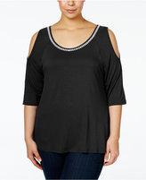 Belldini Plus Size Embellished Cold-Shoulder Top
