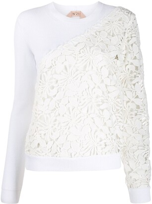 No.21 floral crochet panels knitted top