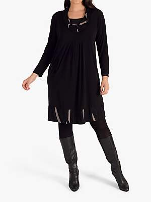 chesca Chesca Cowl Collar Trim Jersey Dress. Black/Taupe