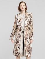 Calvin Klein Collection Leather Skunk Print Coat