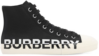 Burberry LOGO PRINT LARKHALL CANVAS HIGH SNEAKERS