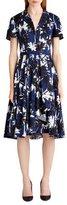 Jason Wu Short-Sleeve Palm-Print Shirtdress
