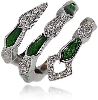 White Gold Spiral Snake Ring w/ Pave Diamonds&Green Enamel