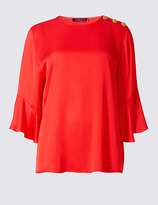 Limited Edition Ruffle Round Neck 3/4 Sleeve Blouse