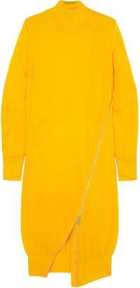 Sacai Zip-detailed Wool Turtleneck Midi Dress