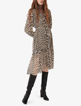 Maje Rapard leopard-print muslin maxi dress