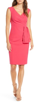 Eliza J Drape Crepe Sheath Dress
