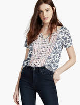Lucky Brand Indian Floral Border Tee