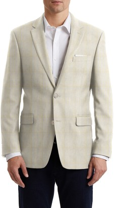 Tommy Hilfiger Tan Blue Plaid Two Button Notch Lapel Sport Coat