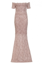 Quiz Dusky Pink Lace Sequin Bardot Scallop Maxi Dress