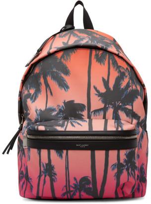 Saint Laurent Multicolor Dip-Dye Palm Print City Backpack