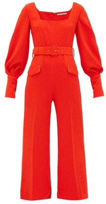 Emilia Wickstead Patrice Pebbled-crepe Jumpsuit - Dark Orange