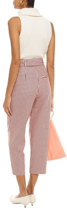 Paper London Tulip Cropped Houndstooth Cotton-jacquard Tapered Pants