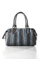 Beirn Blue Gray Snakeskin Tassel Trimmed Gold Tone Zipper Shoulder Handbag
