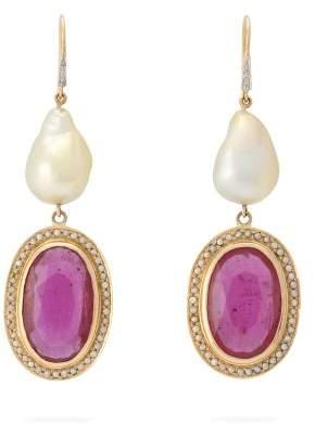 Jade Jagger Diamond, Ruby, Pearl & 18kt Gold Earrings - Womens - Red