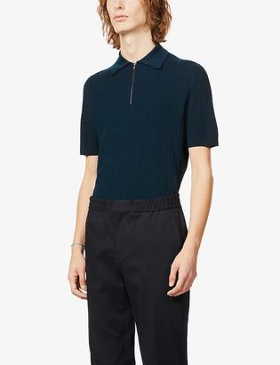 John Smedley Zip-front wool polo shirt