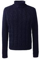 Classic Men's Wool Alpaca Blend Turtleneck Sweater Navy Fairisle