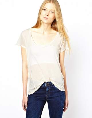 American Vintage T-Shirt with Short Sleeves-Cream
