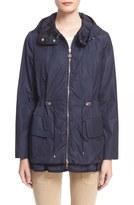 Moncler Women's 'Limbert' Water Resistant Peplum Hem Hooded Rain Jacket