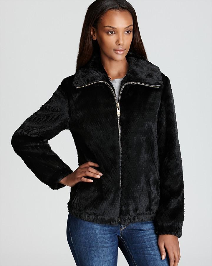 Ellen Tracy Zip Up Faux Fur Jacket
