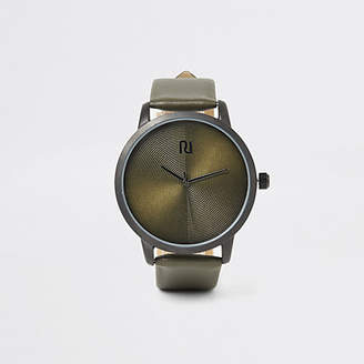 River Island Khaki textured round watch