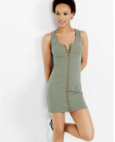 Express ribbed olive snap front tank dress