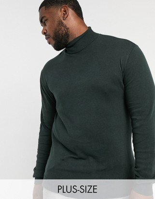 French Connection Plus 100% cotton roll neck sweater in dark green