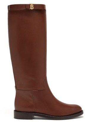 Burberry Redgrave Knee-high Leather Boots - Womens - Tan