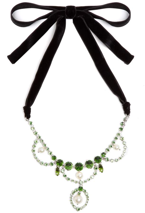 Miu Miu Crystal and faux-pearl embellished necklace