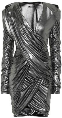 Balmain Hooded lame minidress