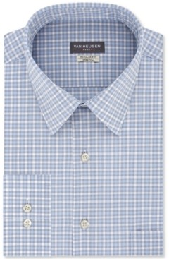 Van Heusen Men's Classic/Regular-Fit Non-Iron Performance Stretch Plaid Flex Collar Dress Shirt