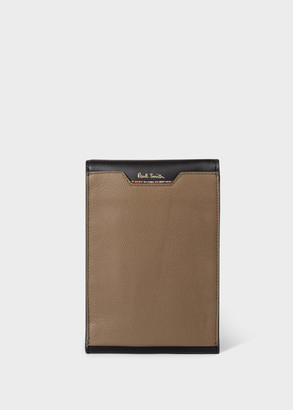 Paul Smith Men's Taupe Leather Neck Pouch With 'Signature Stripe' Trims