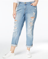 Rachel Roy Curvy Trendy Plus Size Brit Wash Ripped Girlfriend Jeans