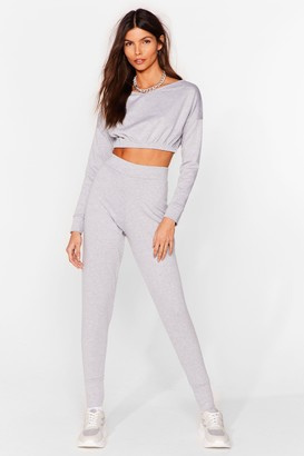 Nasty Gal Womens Keep It Chill Cropped Sweatshirt and Jogger Set - Grey - S/M
