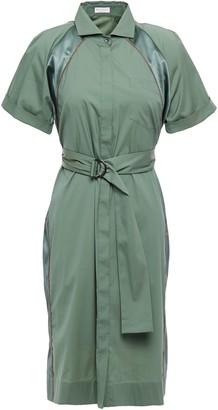 Brunello Cucinelli Belted Bead-embellished Satin-trimmed Cotton-blend Shirt Dress
